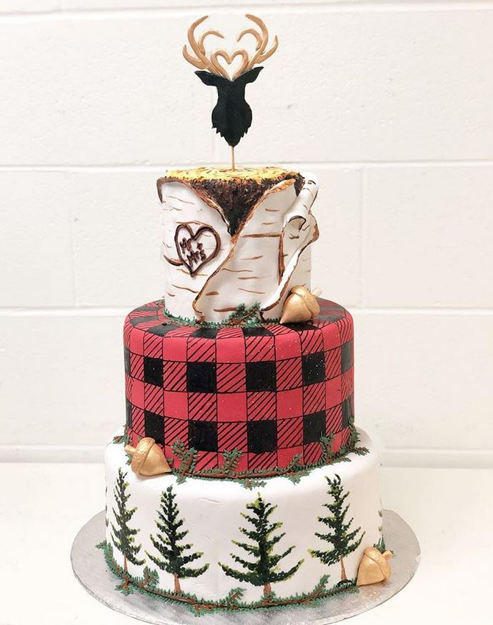 Unique woodsy outdoor themed deer head plaid Pacific Northwest Coast wedding cake